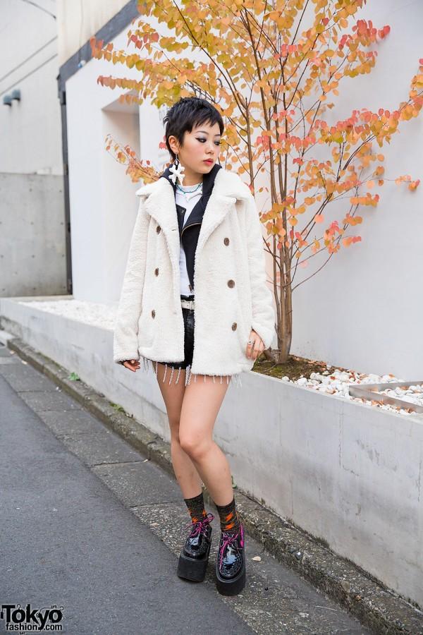 Uniqlo Faux Fur Coat in Harajuku