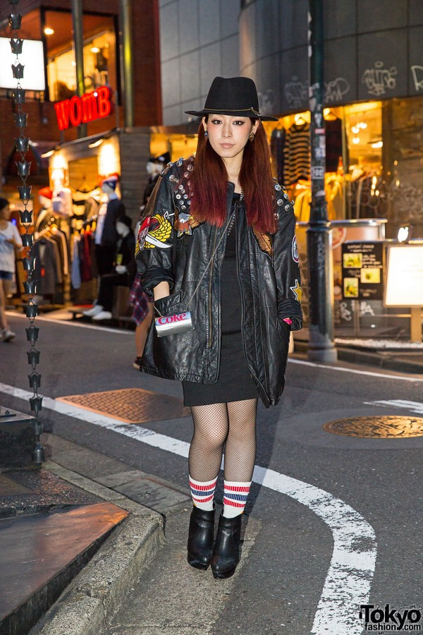 Harajuku Singer w/ Remake Leather Jacket, Moussy & Fishnet Stockings