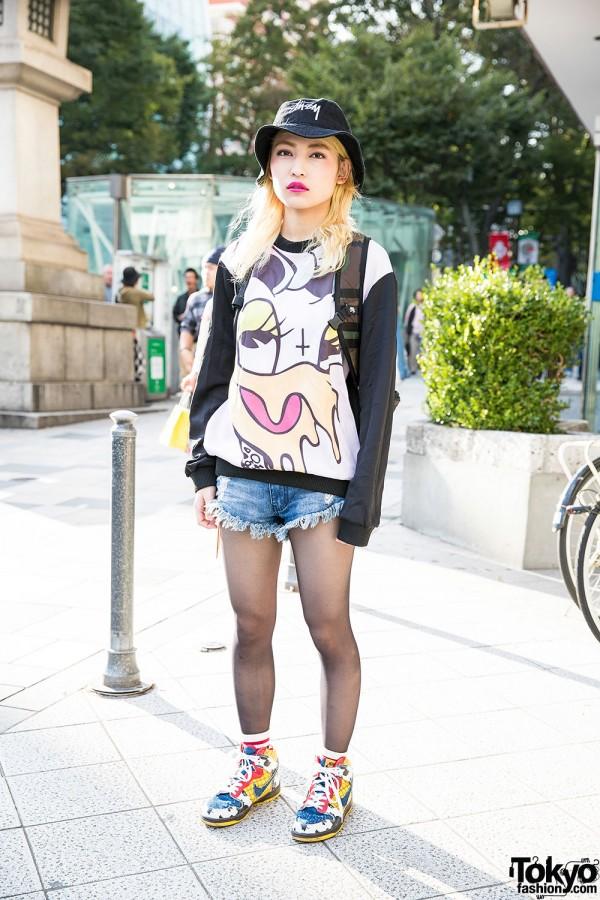 Coveted Society Sweatshirt, Stussy Bucket Hat, Cutoffs & Nike in Harajuku