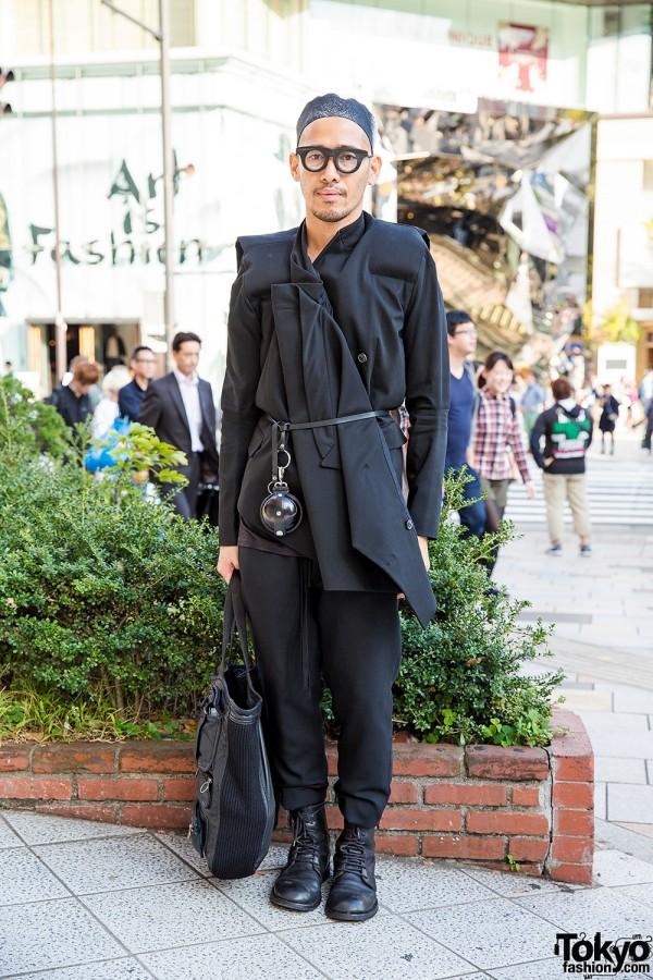 All Black Harajuku Look w/ Dior Homme, Damir Doma, Ann Demeulemeester & Cedric Jacquemyn
