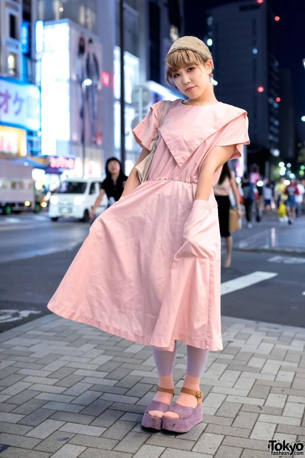 Harajuku Girl in Pink Dress & Platform Sandals