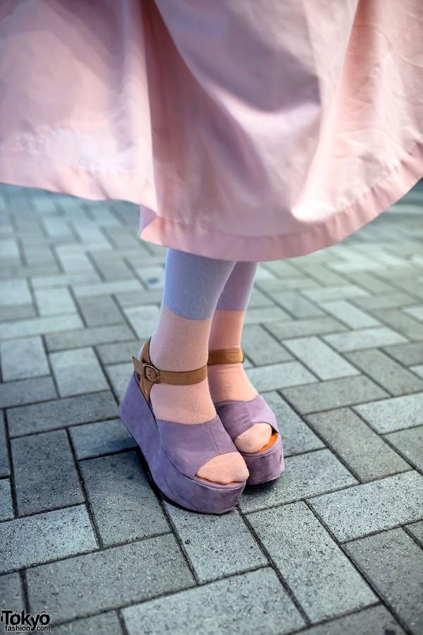 Sherbet Tights & Purple Platform Sandals