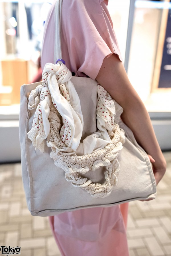 Knit-Decorated Canvas Tote Bag