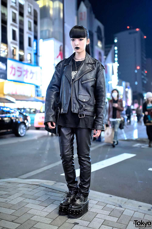 Biker Jacket Evangelion Tee Leather Pants Amp Creepers In