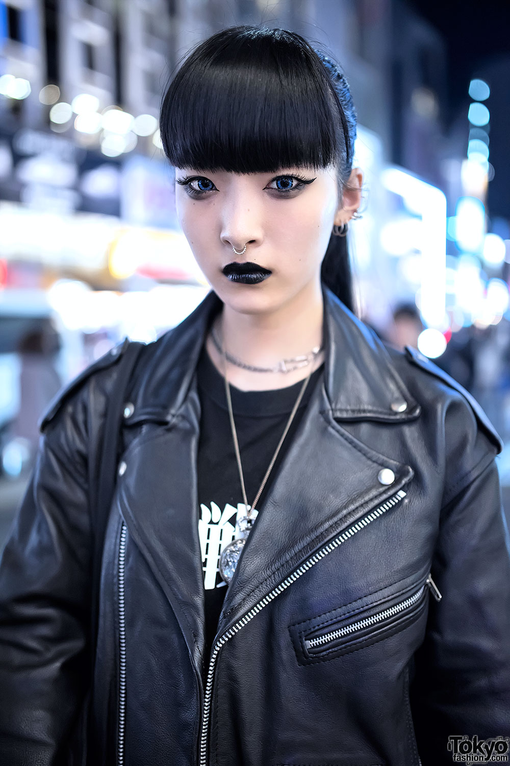 Biker Jacket, Evangelion Tee, Leather Pants & Creepers in Harajuku