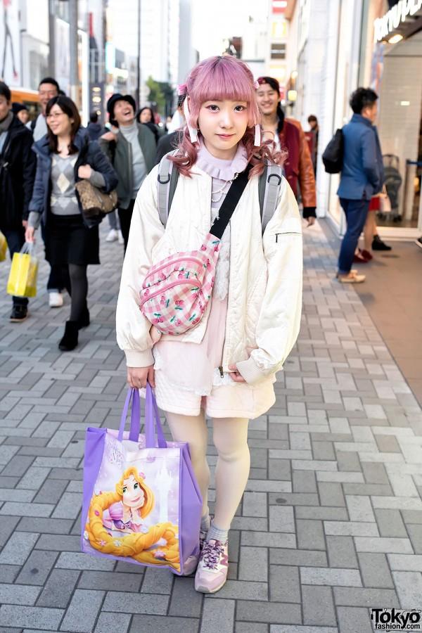 Pink Hair, Bomber Jacket, Cherry Print & Rapunzel Tote in Harajuku