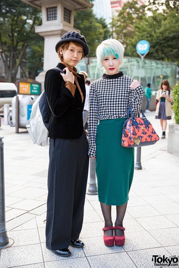 Harajuku Girls w/ Piercings, Aquamarine Hair, Wide Leg Pants & Vivienne Westwood
