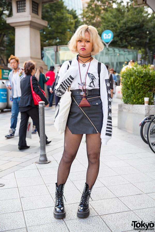 Nakid x G.V.G.V. Top, UNIF Leather Skirt & Fjallraven Kanken Backpack in Harajuku
