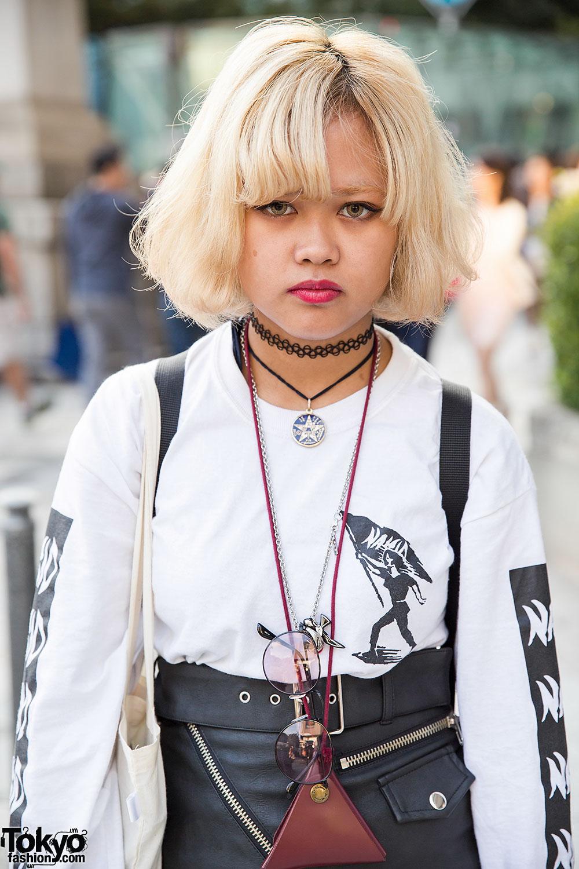 Nakid x G.V.G.V. Top, UNIF Leather Skirt & Fjallraven Kanken