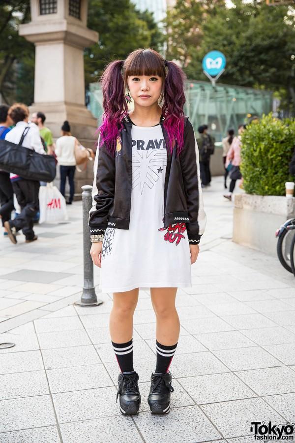 Dip Dye Twin Tails, Candy Stripper Satin Jacket & Jouetie in Harajuku