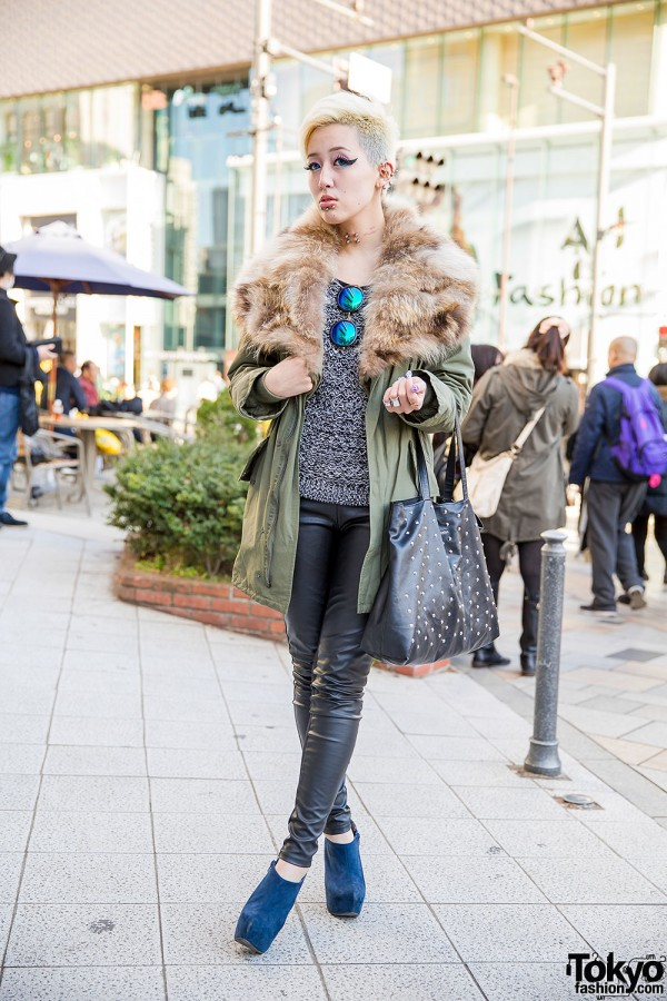Emoda Parka, Piercings, Leather Pants & Ankle Boots in Harajuku