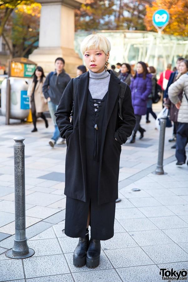 Short Blond Hair & Layered Outfit w/ San-biki no Koneko & Spinns in Harajuku