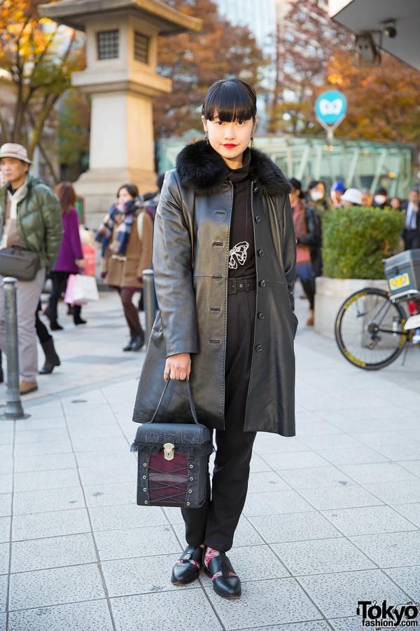Leather Coat, Vintage Zool Pants & Alice Auaa Box Bag in Harajuku
