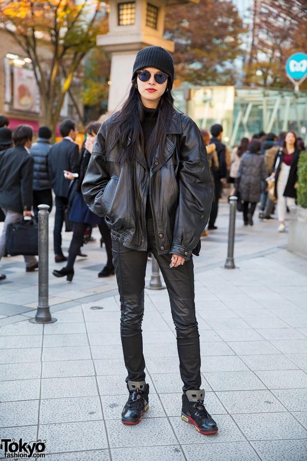 Harajuku Model in Black Leather Jacket, Leather Pants, Sunglasses & Beanie