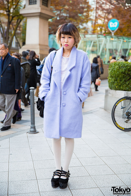 Bubbles Harajuku Baby Blue Coat w/ E hyphen world gallery Dress & Velvet Platforms