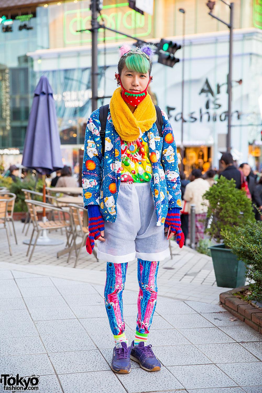 Harajuku Guy W Tiara In Colorful Hair Hello Kitty