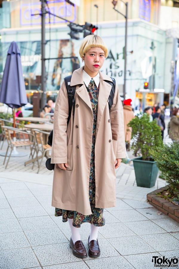 Short Bob, Trench Coat, Axes Femme Dress & Loafers in Harajuku