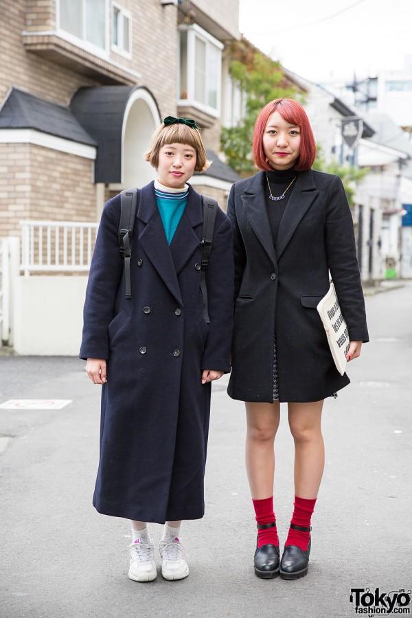 Harajuku Girls in Dark Coats w/ Resale Items, Uniqlo & Adidas