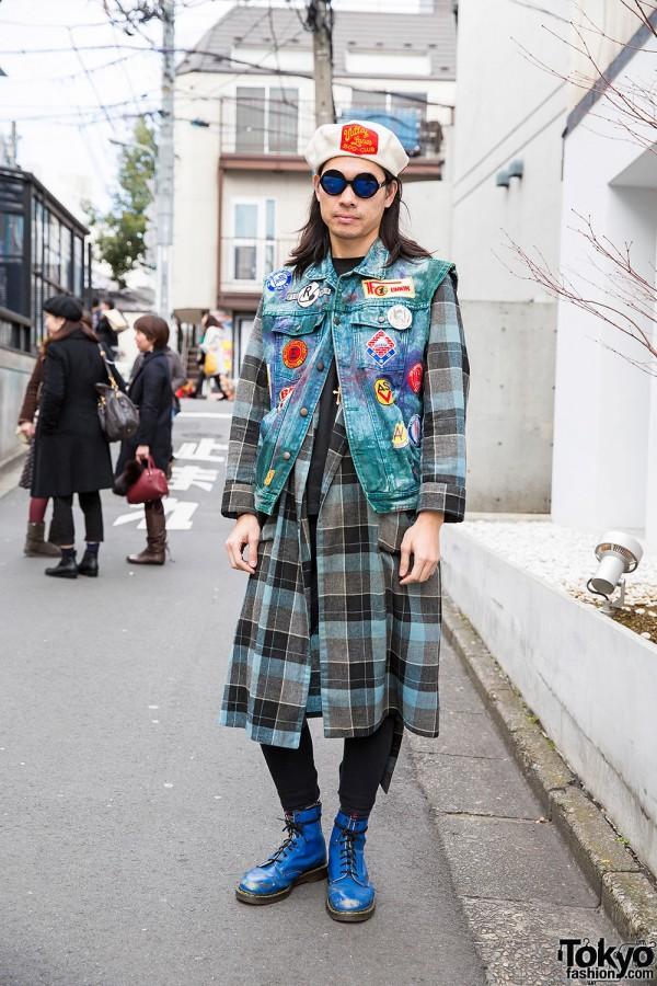 Punk Cake Harajuku's Kinji in Denim Vest Over Plaid Coat & Dr. Martens