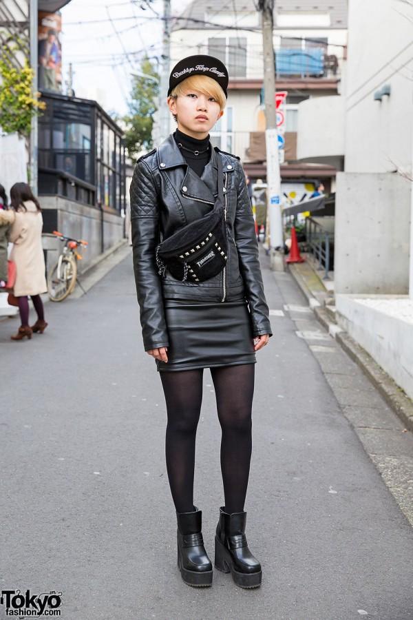 Harajuku Girl w/ Biker Jacket, Leather Mini Skirt & Thrasher Bag