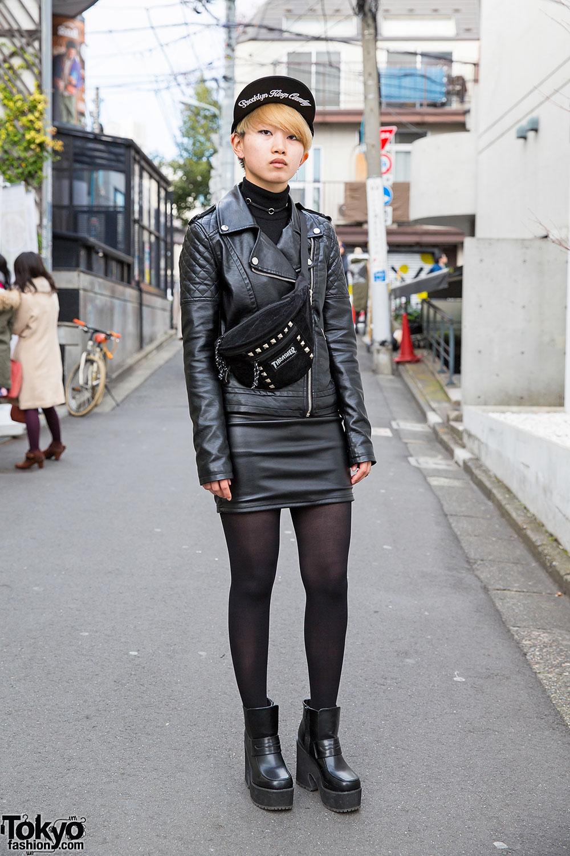 Harajuku Girl W Biker Jacket Leather Mini Skirt