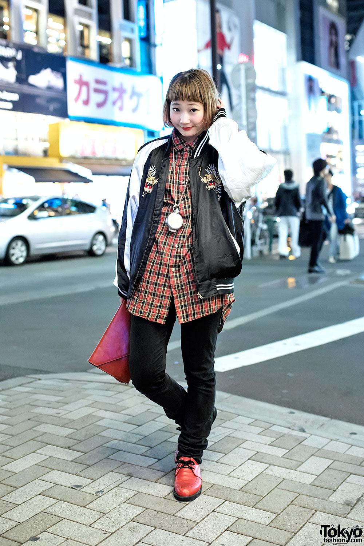Nari Saito In Harajuku W/ Resale Sukajan Jacket, Clutch