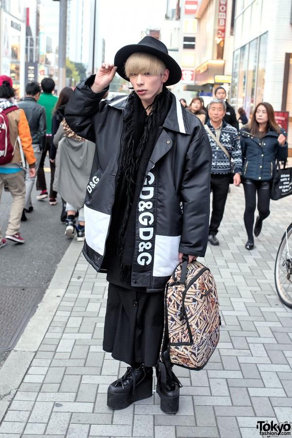 Dolce & Gabbana Coat, Sprayground Bag & YRU Platforms in Harajuku