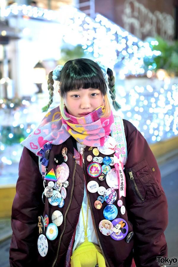 Twin Braids & Colorful Scarf in Harajuku