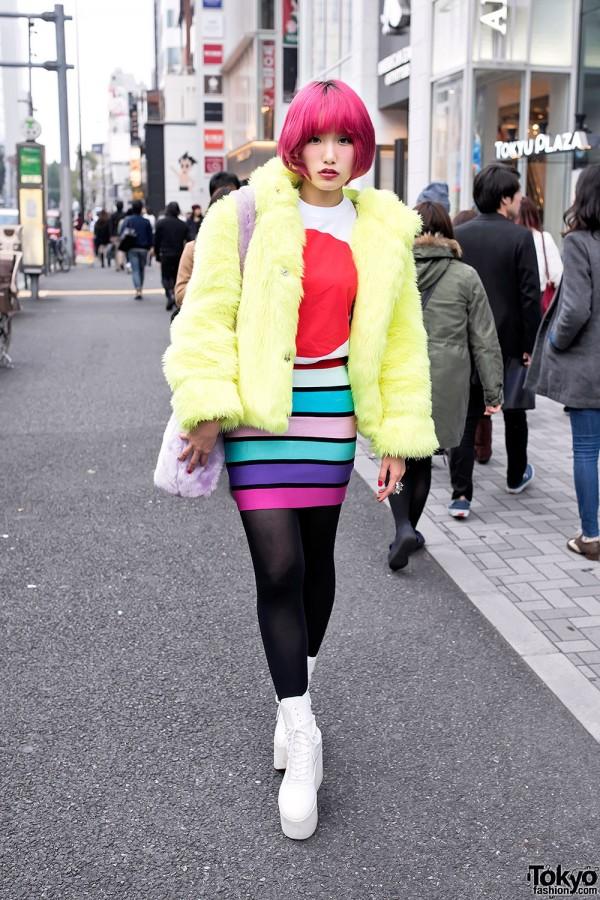 Pink Hair, Galaxxxy Faux Fur Coat & Tokyo Bopper Platforms in Harajuku