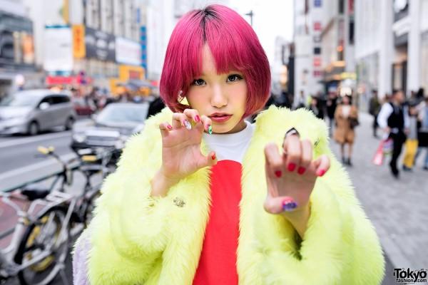 Pink Hair, Galaxxxy Faux Fur Coat & Tokyo Bopper Platforms