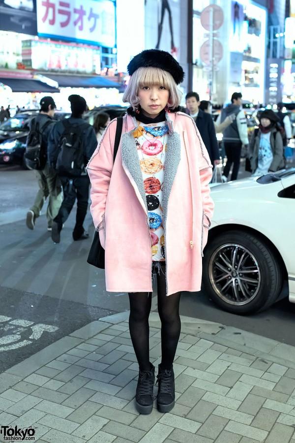 Pink Shearling Jacket & Donut Print Dress
