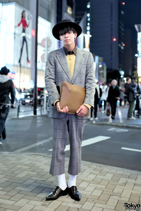 Harajuku Guy's Plaid Cropped Suit, Pointy Dress Shoes, Hat & Clutch
