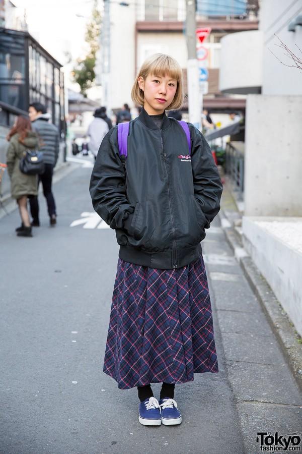 Plaid Maxi Skirt, Supreme Backpack & Canvas Sneakers in Harajuku