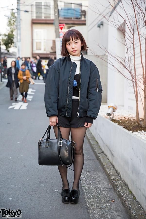 GVGV Lace-up Bomber Jacket, Knit Shorts & Pom Pom Platforms in Harajuku