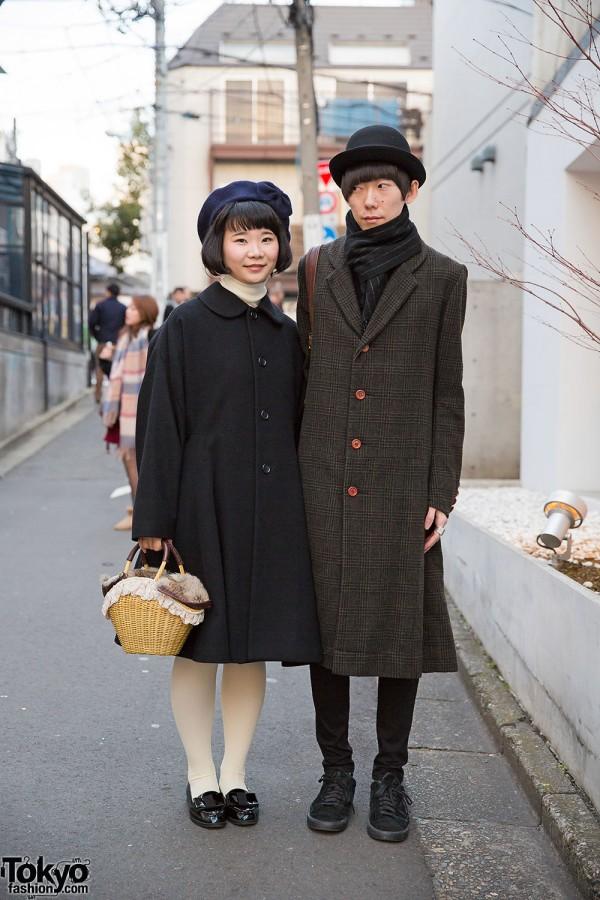 Harajuku Duo in Hats & Midi Coats w/ Christopher Nemeth & Comme des Garcons