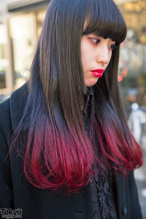 Black Red Dip Dye Hair Tokyo Fashion News