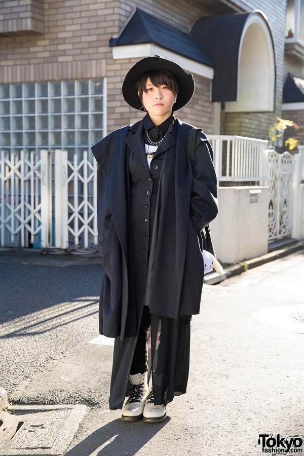 Harajuku Girl in Layered Black & White Resale Style w/ Hat & Teeth Necklace