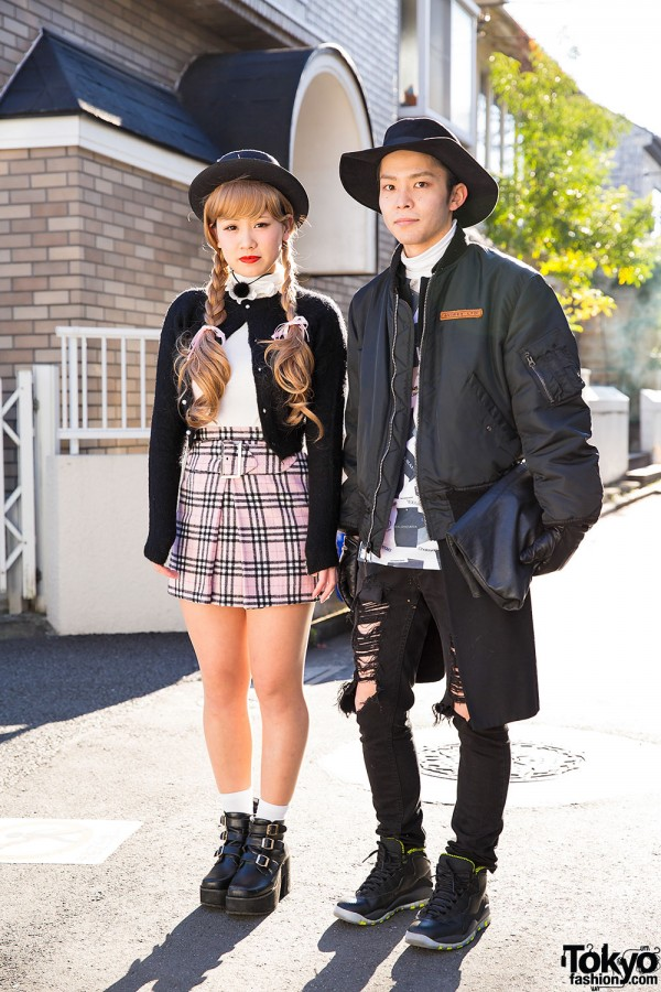 Harajuku Duo in Black Hats w/ Bomber Jacket, Cardi, Plaid Skirt & Ripped Jeans