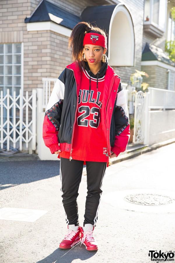 Harajuku Girl in Chicago Bulls Bomber Jacket, Adidas & Air Jordans