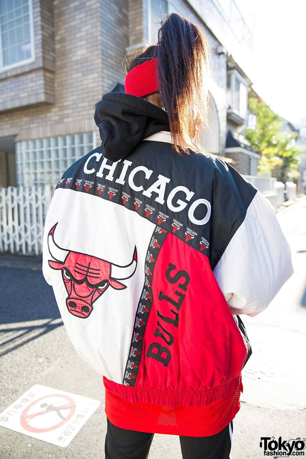 Harajuku Girl In Chicago Bulls Bomber Jacket Adidas Amp Air