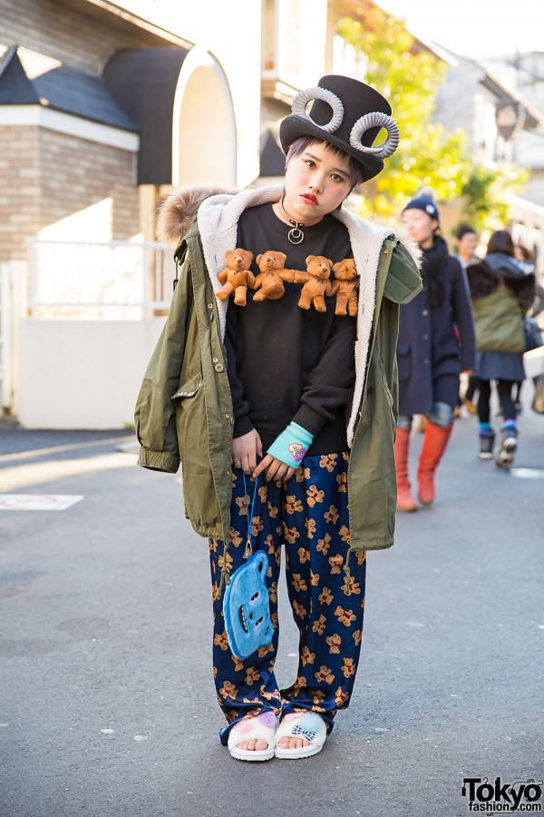 Devilish Horned Hat, Teddy Bear Sweatshirt & Jouetie Jacket in Harajuku