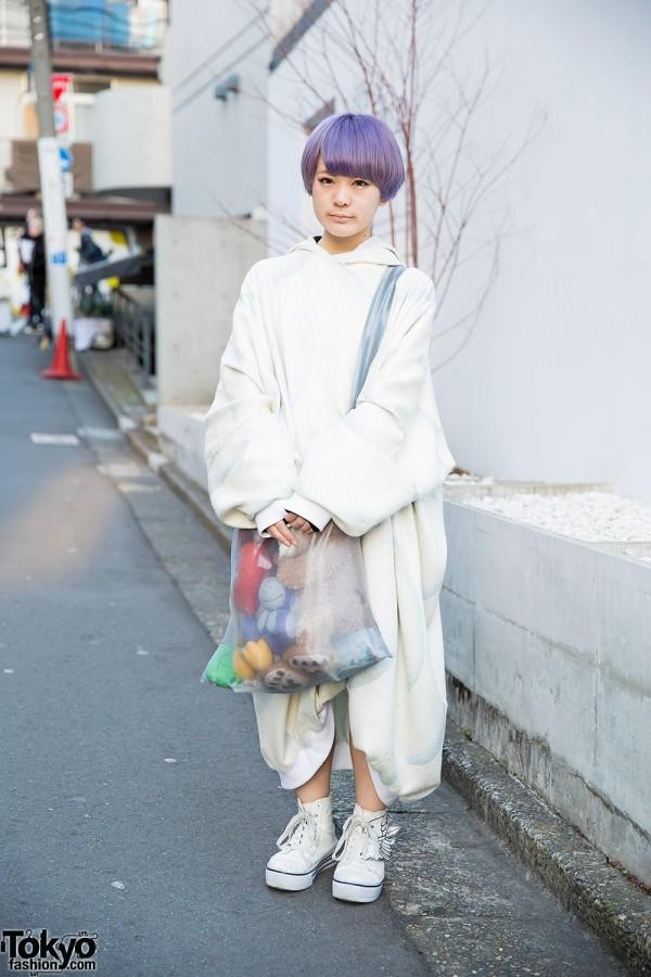 Lilac Hair, Wagado Hoodie Dress & Sheer Bag w/ Plush Toys in Harajuku