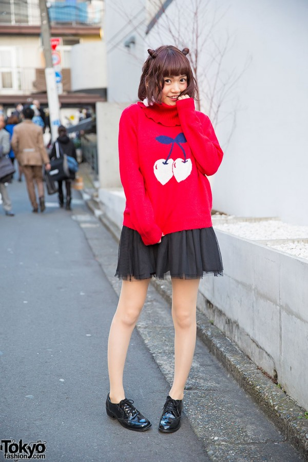 Cherry Print Candy Stripper Sweater & Cherry Earrings in Harajuku