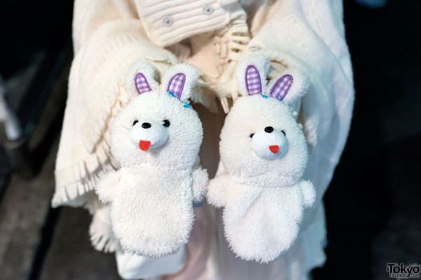 Cute Rabbit Mittens in Harajuku