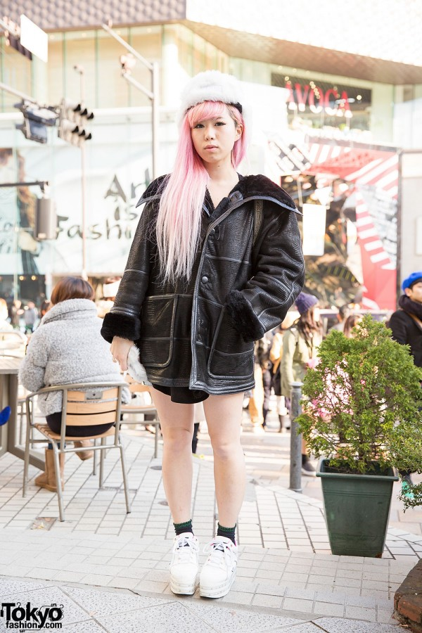 Pink Hair, MYOB Faux Fur Hat, Versace Backpack & Chanel Ring in Harajuku