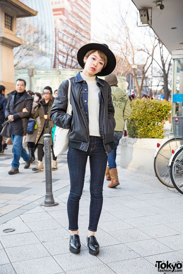Harajuku Girl in Layered Jackets w/ Hat, Snidel Shoes & Moussy Jeans