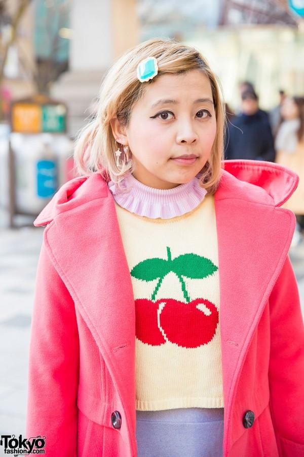 Pink Resale Coat & Cherry Sweater