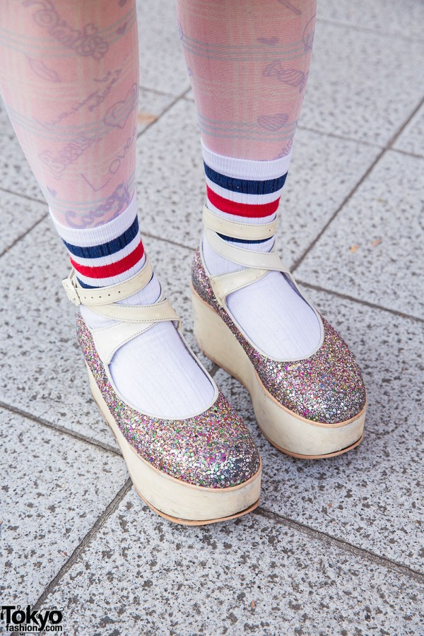 Tokyo Bopper Glitter Platform Shoes