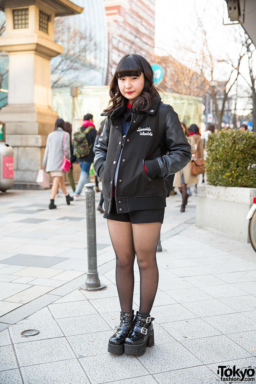 Leather Sleeve Stadium Jacket Prada Bag Ankle Boots In Harajuku