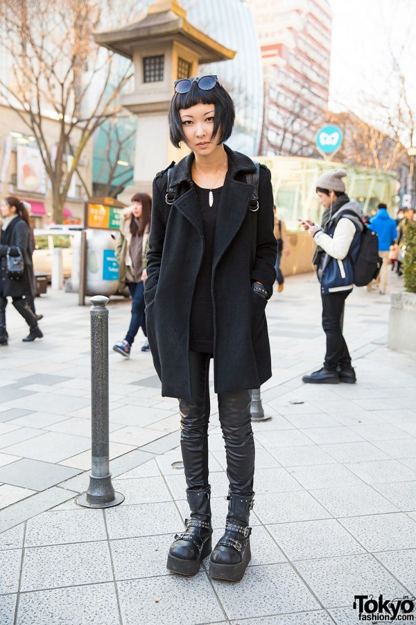 Harajuku Girl w/ Neck Tattoo, Piercing, Demonia Boots & Leather Pants